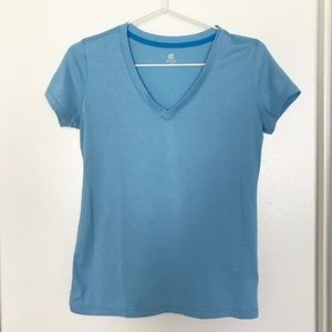 Light Blue V-Neck Exercise Shirt